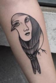 创意的鸟与人脸结合的平安彩票开奖网纹身图案