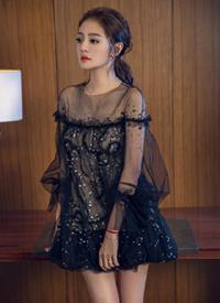 安以轩黑色透视纱裙性感写真图片欣赏