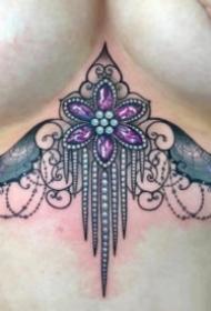 18组炫彩色的宝石钻石纹身图案
