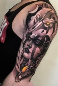 好看的一组包大臂欧美人物等纹身作品