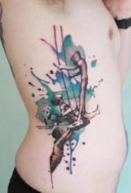 唯美的水彩色小清新紋身圖案9張