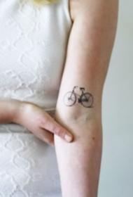 很小清新的简约单车自行车纹身图案