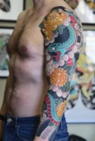 老傳統風格的花臂紋身作品9張