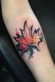 精致的一組漂亮楓葉紋身圖片
