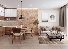 实用现代实木风格三居室装修效果图