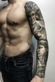 欧美宗教写实黑灰人物纹身作品图片