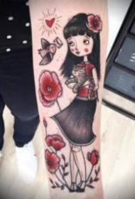 超可爱的9张卡通小女孩纹身图案
