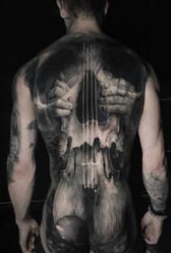 逼真的寫實歐美大滿背紋身作品圖