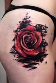18张很漂亮的玫瑰花朵纹身图片
