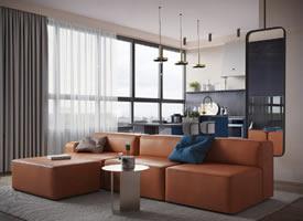 橙和蓝配色的现代家装修效果图欣赏