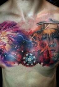 水彩彩绘纹身图案 身体各个平安线路导航彩色泼墨风格的水彩纹身抽象纹身图案