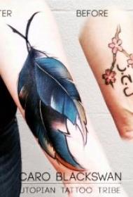 纹身 彩色羽毛  多款轻柔而又美丽的水彩羽毛纹身图案