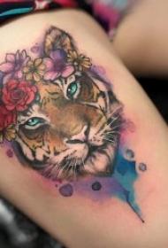 水彩潑墨紋身圖片   水彩與線條交融的彩色潑墨紋身圖案