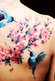 鸟纹身图案 身体各平安线路导航鸟和花朵搭配的鸟纹身图案