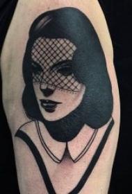 紋身圖人物圖片   個性而又不失時尚感的黑灰人物紋身圖案