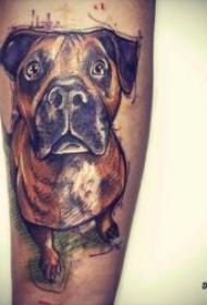 小狗纹身图案 10张身体各平安线路导航的小狗纹身图案图片