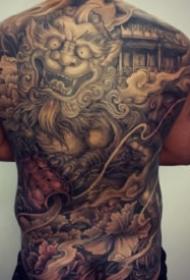 霸氣的新傳統大滿背紋身作品圖