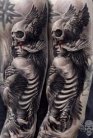 纹身骷髅   20组骨枯无肉恐怖的骷髅主题纹身图案