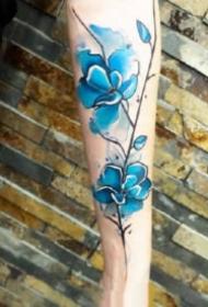 藍色水墨紋身 漂亮的9款藍色水彩潑墨紋身圖案