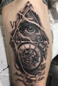 眼睛紋身 暗黑灰色的一組眼睛主題紋身圖片