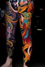 新傳統風格的一組花臂花腿紋身欣賞