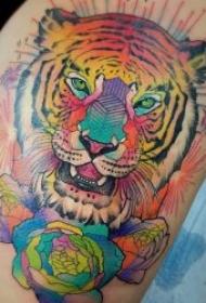 老虎頭紋身 10張兇猛霸氣的老虎頭紋身圖案