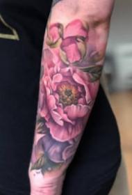 粉玫瑰紋身 水彩色風格的粉色玫瑰紋身圖案