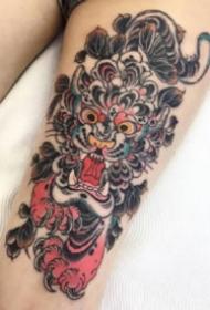 漂亮的oldschool日式紋身小動物頭紋身圖片