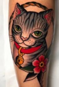 oldschool小貓咪紋身 school風格的9款貓主題紋身圖片