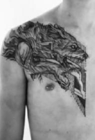 男性胸部紋身 黑灰色的9張男士胸前紋身作品圖案