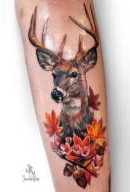 好看的一組9張小鹿頭主題刺青紋身圖片
