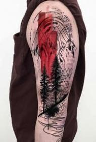 黑灰+紅色的一組創意紋身設計圖片