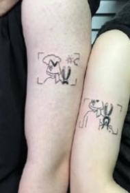 極簡風格的一組情侶成對小刺青圖片