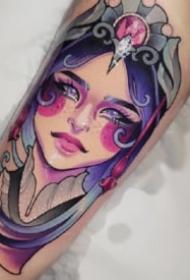 女郎紋身 9張水彩色的女郎紋身作品圖片