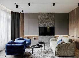 高級灰+紳士藍高雅家居設計