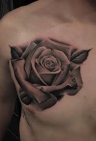 9款黑灰寫實的逼真玫瑰花紋身圖案