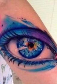 眼睛紋身 超逼真的9款寫實黑灰大眼睛紋身圖案