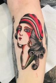九款彩色成熟的oldschool女郎紋身圖案欣賞