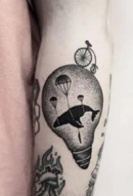 純黑色的18款個性手臂小黑圖紋身作品