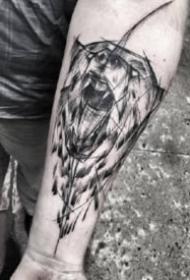 9款小臂位置的黑灰散點紋身圖案