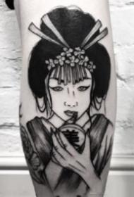 紋身藝伎圖 9款黑灰色的日本藝妓紋身作品圖案