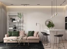 墨綠和粉紅的搭配,打造出與眾不同的單身公寓