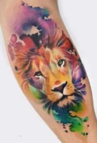 獅頭紋身 好看的9款水彩色獅子頭紋身圖案