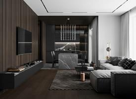 高級黑的浪漫公寓裝修效果圖