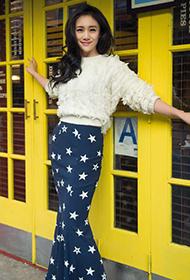 刘芸纽约街头时尚星星长裙街拍