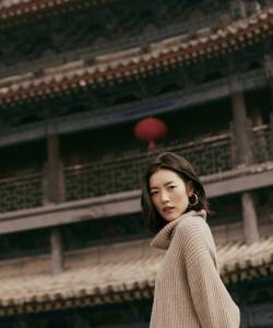 劉雯秋日西安寫真圖片
