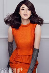 蒋欣优薄纱透视裙装性感杂志封面拍摄