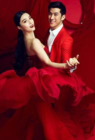 范冰冰李治廷红衣红裙甜蜜共舞写真