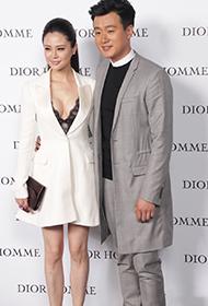 佟大为携妻子甜蜜出席时尚活动