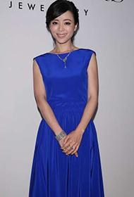 张静初优雅蓝色裤裙出席时尚活动
